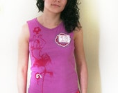 Reserved for Courtney - Summer Tank Top, Pink, Flamenco Dancer, Shell, Cami, Junior / Women, Vintage Lace