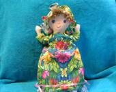 Topsy Turvy Day Night  Doll Tropical Flowers Aqua Pink