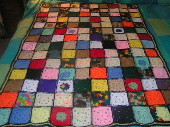 SALE Crochet Afghan Granny Square Stain Glass FREE SHIPPING Sale