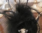 Black Bird, Velvet, Rhinestone, Beads, Fascinator, Royal Couture