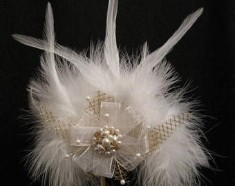 Feather Fascinator made with Vintage Jewelry and bridal lace