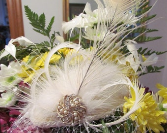 Veiled Bride, Bridal Fascinator with flowers, white pearls and velvet