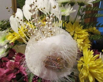 Sweet Swan, Bridal Fascinator with flowers, white pearls and velvet