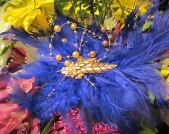 Blue Monday, Feather Fascinator made with Vintage Jewelry, Faux Pearls