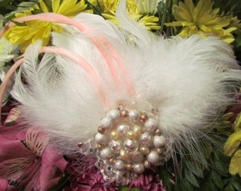Pink Lady, Couture Hair Fascinator made with Pink and White Feathers, Italian lampwork beads