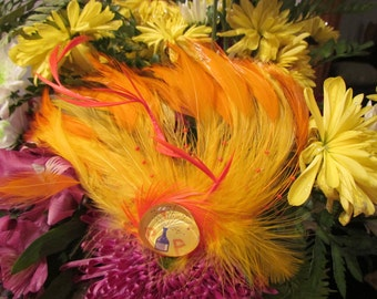 Party Girl, Feather Fascinator made with Vintage Jewelry and Feathers