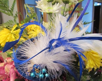 A Pop of Color, Blue and White Feathers, Couture Grace and Style