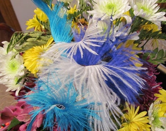 Spring Fling, Cocktail Hat, Couture Hair Fascinator with Ostrich Feathers and two Blue White Gold Toned Crystal