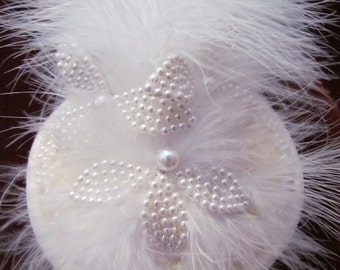 Pearl Leaves, white fluff feathers, white velvet base, velvet trim