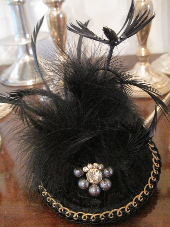 Black Bird, Velvet, Rhinestone, Beads, Fascinator, Royal Couture