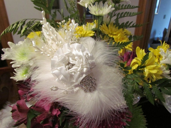 Bridal Bling with White Feathers, Crystals and A large satin Flower