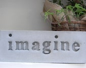 "Concrete Decorative Word Stone ""Imagine"""