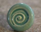 Aqua Blue Green Infinity Porcelain Ceramic Ring