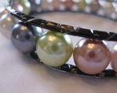 Multi color Glass Pearl Bangle Bracelet