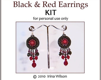 KIT (instructions and materials) - Black and Red Earrings