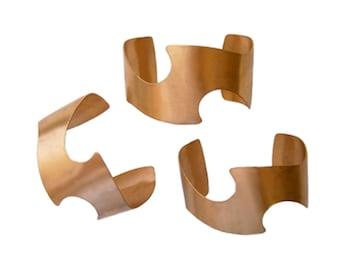 3 CUFF BRACELET BLANKS (Brass) - ZigZag