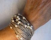 Bracelet pearl linen white pearl wedding eco chic summer spring fashion handmade mediterranean style - espurna88