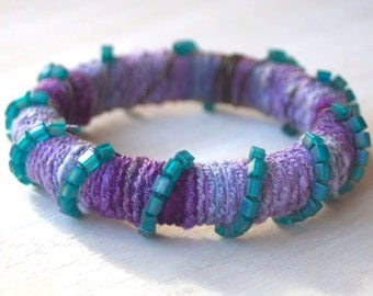 Yarn and Glass Cube Beads Wrapped Bracelet