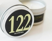No. 122: COOL CITRUS BASIL  // Natural Soy Candle // 6 oz Tin // Highly Scented