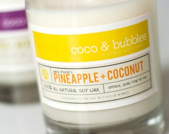 No. 111: PINEAPPLE and COCONUT  // Natural Soy Candle // 13 oz // Highly Scented