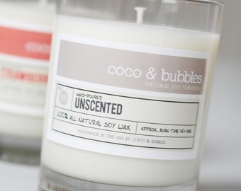 No. 100: UNSCENTED  // Natural Soy Candle // 13 oz // Highly Scented