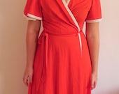 70s Vintage Red Wrap Dress