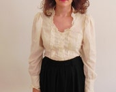 Vintage Cream Puff Sleeve Lace Blouse