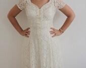 Vintage Sheer White Ivory Lace Wedding Maxi Dress