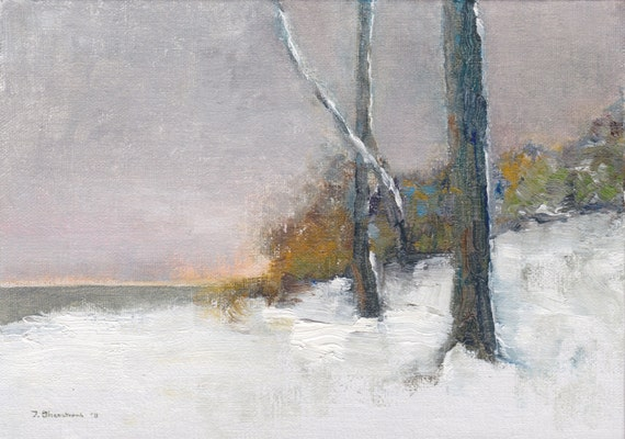 Loneliness in Winter -- Original Oil Painting