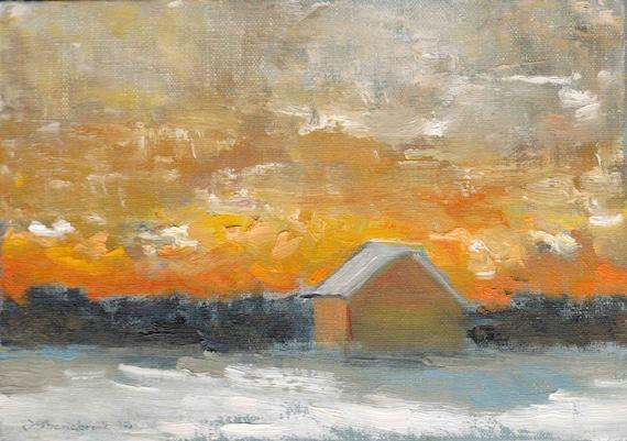 December Orange - Original Oil Painting