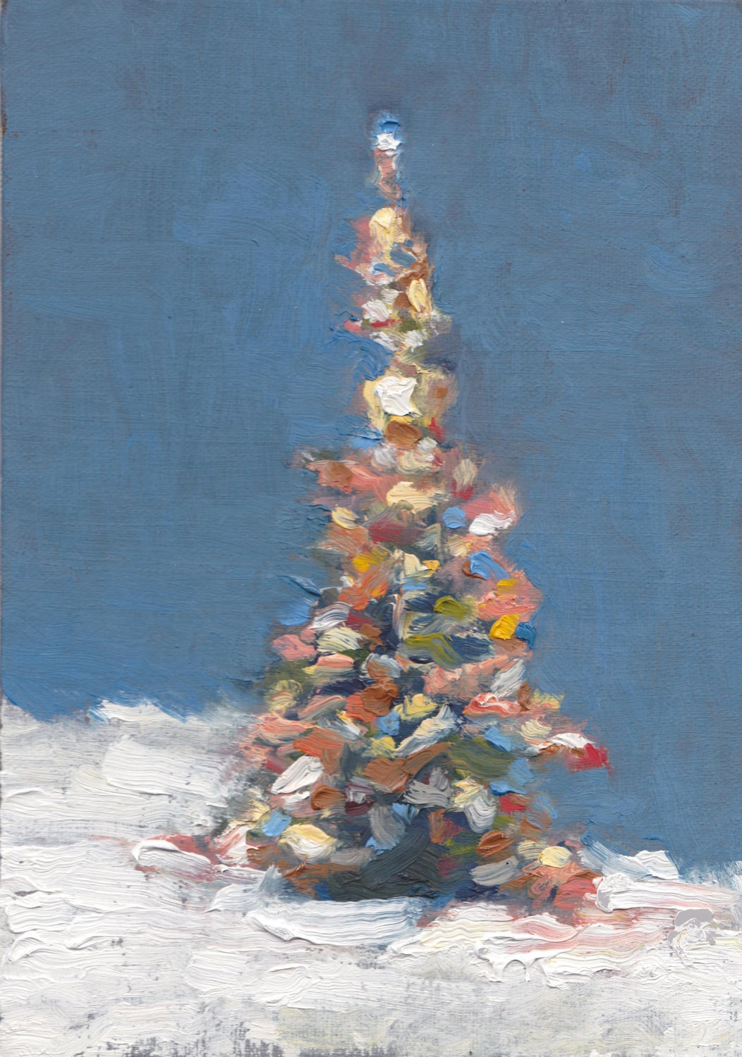 christmas tree aglow original oil painting