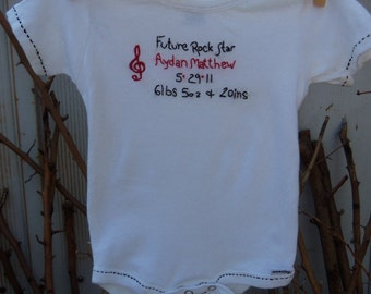 Personalized hand embroidered baby onesie, rocker baby