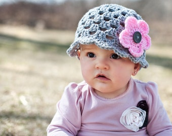 Spring Scalloped Beanie & 3 Interchangeable Flowers (Newborn, 3-6 month, and 6-12 month sizes) - crochet, knit, hat, cloche, baby, girl