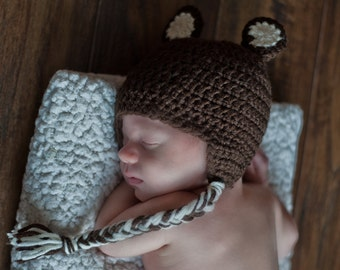 Crochet Baby Bear Beanie with Earflaps (Newborn, 3-6 month, & 6-12 month sizes) - knit, hat, boy, girl, photo, prop