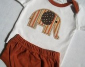 Baby Elephant Applique' Lap-T and Diaper Cover Set