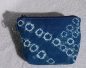 Asian Influenced Indigo Blue Tie Dyed Shibori Zipper Bag