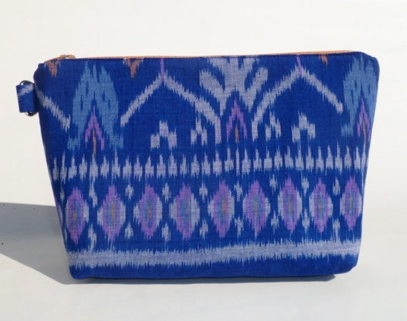 Blue Handwoven Balinese Ikat Zipper Bag/Clutch