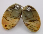 Red Creek aka Cherry Creek Jasper, Long Oval Earrings with Sterling Earwires and Fluted Shot