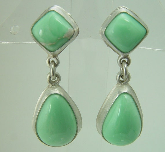 Green Lucin, Utah Variscite Sterling Silver Earrings with Posts and Clutch