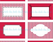 VALENTINE'S RED and WHITE Printable Blank Labels