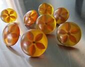 Push Pins Tie Backs Vintage Bakelite Reverse Carved Set of Eight