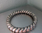 Victorian Sterling Repousse Hand Chased Bangle Bracelet