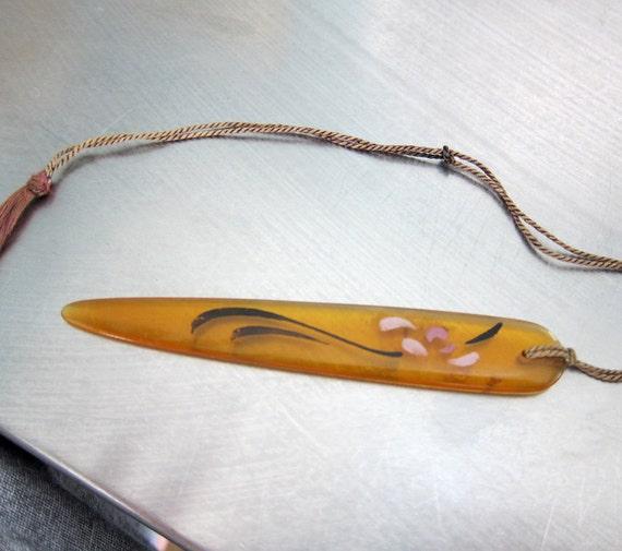 Letter Opener or Bookmark Vintage Bakelite Translucent Yellow