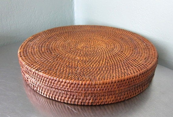 Vintage Covered Basket Round Hand Woven Folk Art Tray Box ON SALE