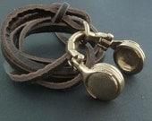 Headphones Necklace Bronze Headphones Pendant on Leather