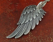 """Angel Wing Necklace Antique Silver Angel Wing Pendant on 18"""" Antique Silver Chain"""