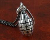 "Grenade Necklace Antique Silver Hand Grenade Pendant on 24"" Gunmetal Chain"