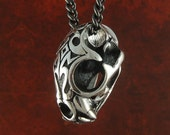 "Wild Cat Skull Necklace Antique Silver Lynx Skull Pendant on 24"" Gunmetal Chain"