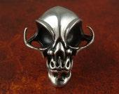 "Alien Necklace Alien Skull Pendant in Antique Silver on 24"" Antique Silver Chain"