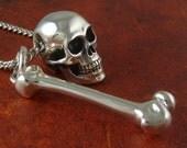 """Skull and Bone Necklace Antique Silver Skull and Bone Pendant on 24"""" Antique Silver Chain - Memento Mori"""
